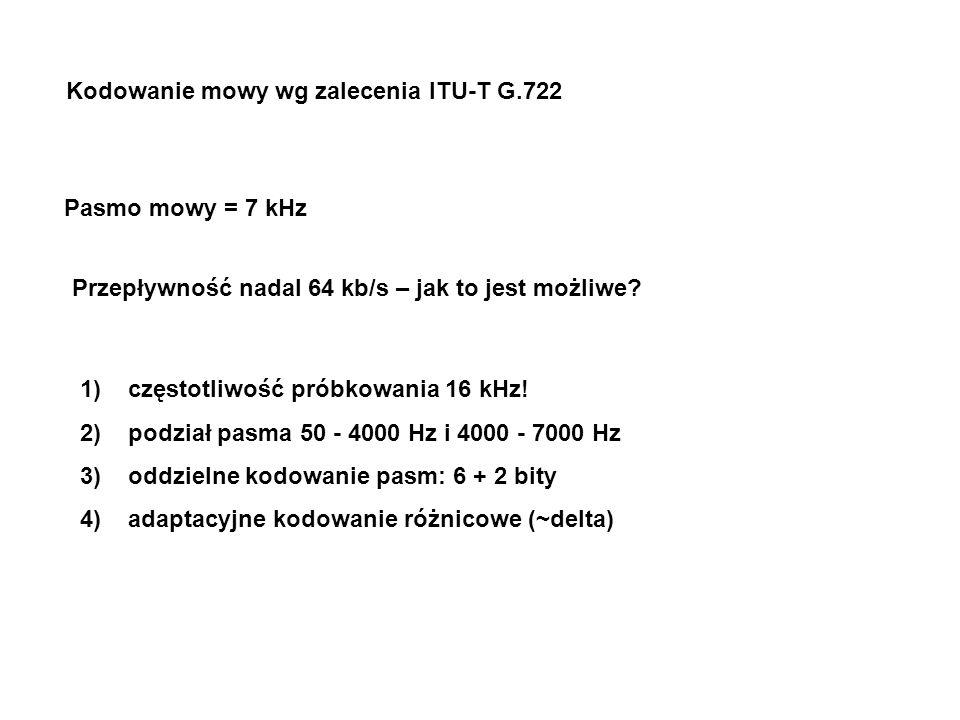 Kodowanie mowy wg zalecenia ITU-T G.722 Pasmo mowy = 7 kHz Przepływność nadal 64 kb/s – jak to jest możliwe? 1)częstotliwość próbkowania 16 kHz! 2)pod