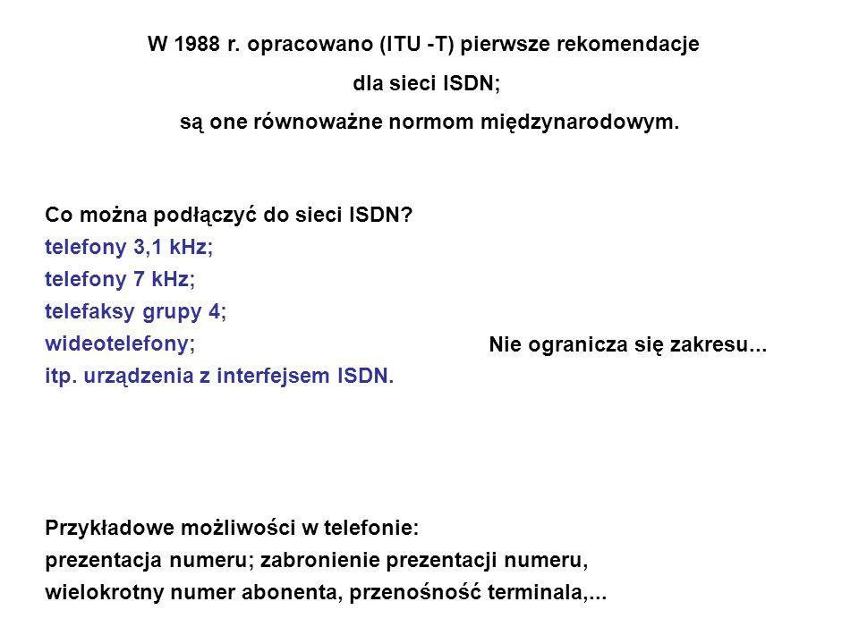 Co można podłączyć do sieci ISDN? telefony 3,1 kHz; telefony 7 kHz; telefaksy grupy 4; wideotelefony; itp. urządzenia z interfejsem ISDN. Przykładowe