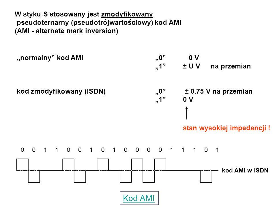 """W styku S stosowany jest zmodyfikowany pseudoternarny (pseudotrójwartościowy) kod AMI (AMI - alternate mark inversion) """"normalny"""" kod AMI """"0"""" 0 V """"1"""""""
