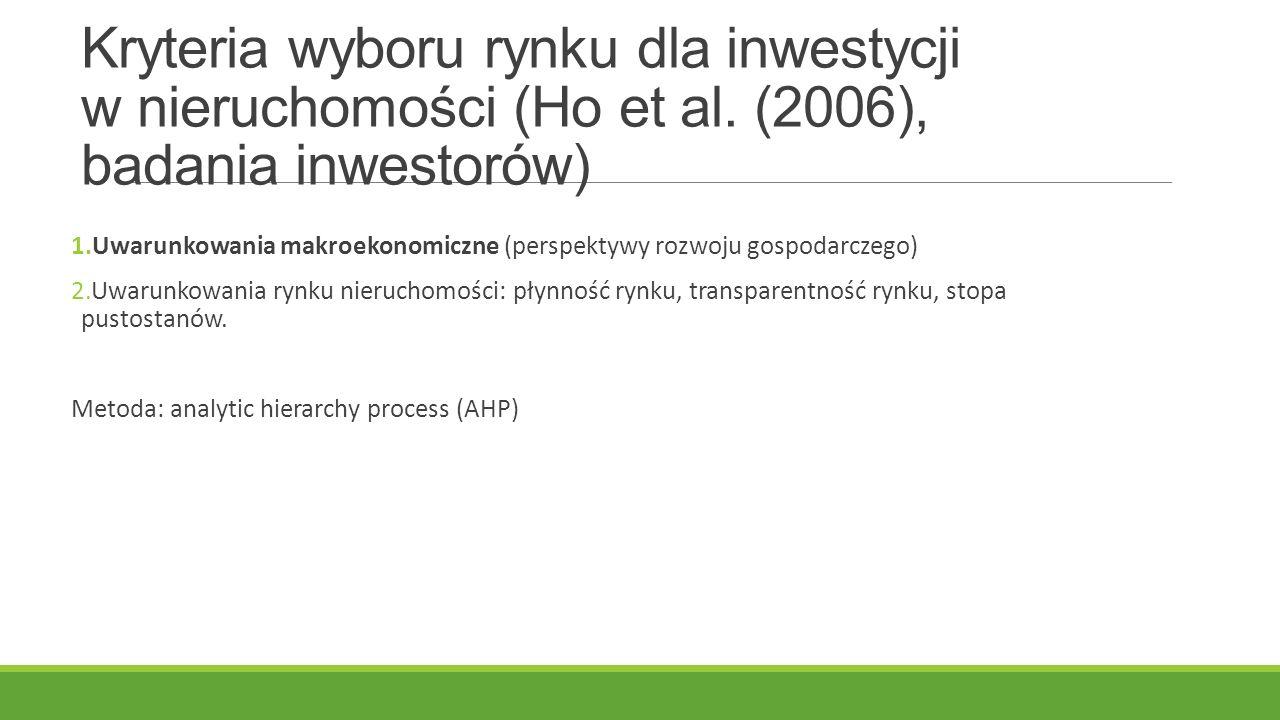 Kryteria wyboru rynku dla inwestycji w nieruchomości (Ho et al. (2006), badania inwestorów) 1.Uwarunkowania makroekonomiczne (perspektywy rozwoju gosp