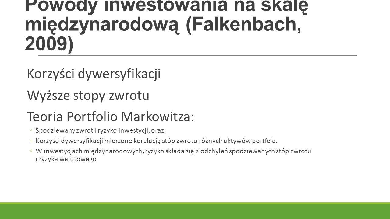 Powody inwestowania na skalę międzynarodową (Falkenbach, 2009) Korzyści dywersyfikacji Wyższe stopy zwrotu Teoria Portfolio Markowitza: ◦Spodziewany z