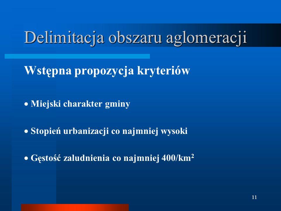 11 Delimitacja obszaru aglomeracji Wstępna propozycja kryteriów  Miejski charakter gminy  Stopień urbanizacji co najmniej wysoki  Gęstość zaludnien