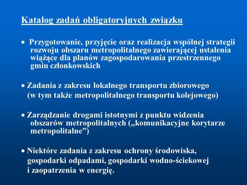 Katalog zadań obligatoryjnych związku  Przygotowanie, przyjęcie oraz realizacja wspólnej strategii rozwoju obszaru metropolitalnego zawierającej usta