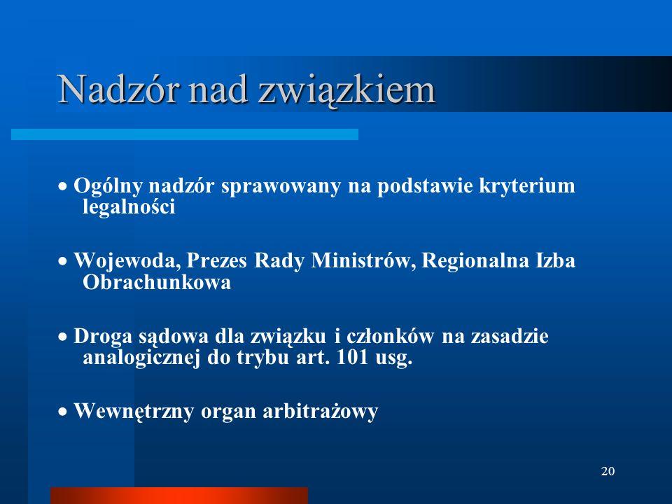 20 Nadzór nad związkiem  Ogólny nadzór sprawowany na podstawie kryterium legalności  Wojewoda, Prezes Rady Ministrów, Regionalna Izba Obrachunkowa  Droga sądowa dla związku i członków na zasadzie analogicznej do trybu art.
