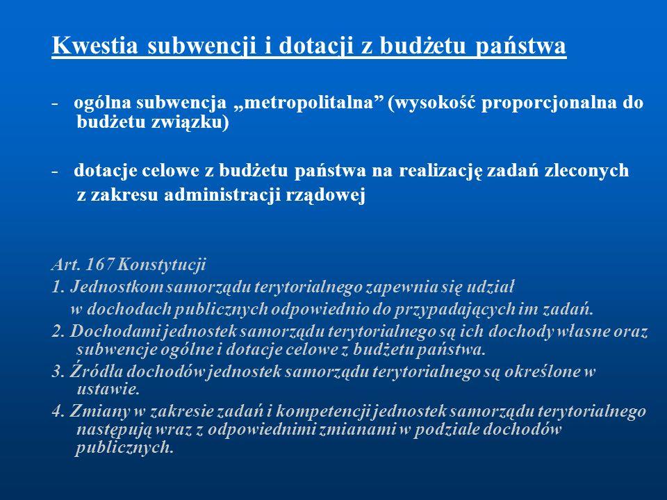 """Kwestia subwencji i dotacji z budżetu państwa - ogólna subwencja """"metropolitalna"""" (wysokość proporcjonalna do budżetu związku) - dotacje celowe z budż"""