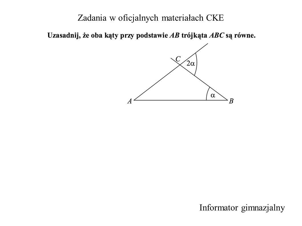 Zadania w oficjalnych materiałach CKE Informator gimnazjalny