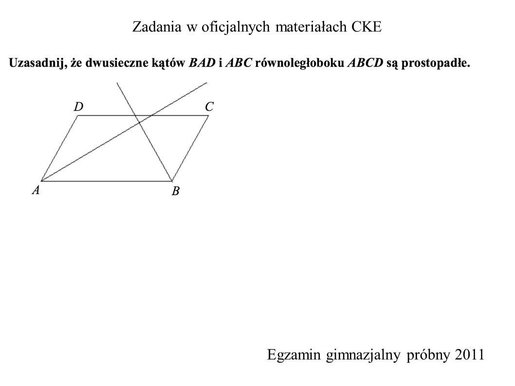 Zadania w oficjalnych materiałach CKE Egzamin gimnazjalny próbny 2011