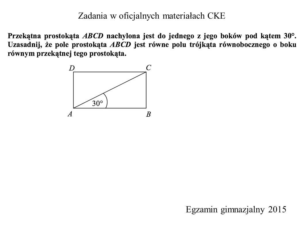 Zadania w oficjalnych materiałach CKE Egzamin gimnazjalny 2015