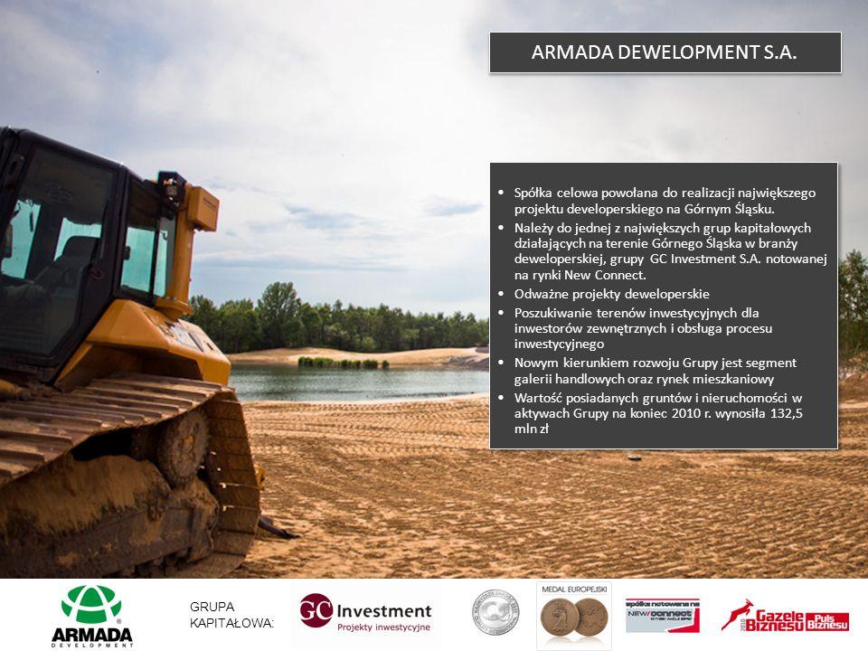 ARMADA DEWELOPMENT S.A. Spółka celowa powołana do realizacji największego projektu developerskiego na Górnym Śląsku. Należy do jednej z największych g