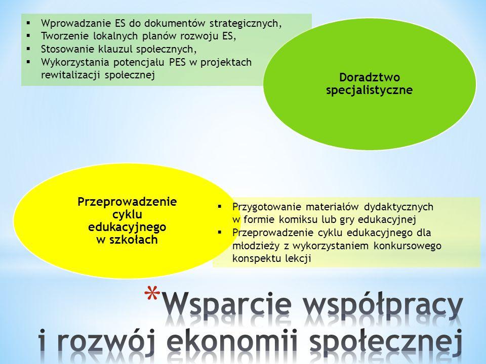 Doradztwo specjalistyczne Przeprowadzenie cyklu edukacyjnego w szkołach  Wprowadzanie ES do dokumentów strategicznych,  Tworzenie lokalnych planów rozwoju ES,  Stosowanie klauzul społecznych,  Wykorzystania potencjału PES w projektach rewitalizacji społecznej  Przygotowanie materiałów dydaktycznych w formie komiksu lub gry edukacyjnej  Przeprowadzenie cyklu edukacyjnego dla młodzieży z wykorzystaniem konkursowego konspektu lekcji