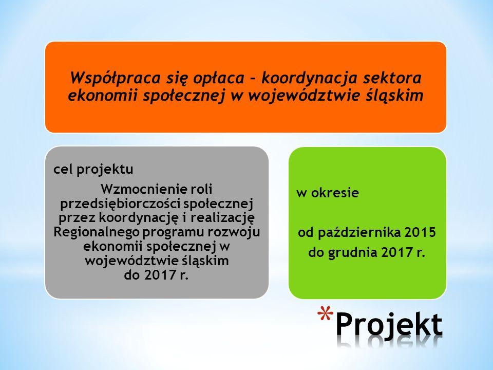 Współpraca się opłaca – koordynacja sektora ekonomii społecznej w województwie śląskim cel projektu Wzmocnienie roli przedsiębiorczości społecznej przez koordynację i realizację Regionalnego programu rozwoju ekonomii społecznej w województwie śląskim do 2017 r.