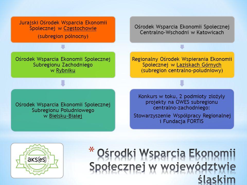 Jurajski Ośrodek Wsparcia Ekonomii Społecznej w Częstochowie (subregion północny) Ośrodek Wsparcia Ekonomii Społecznej Subregionu Zachodniego w Rybniku Ośrodek Wsparcia Ekonomii Społecznej Subregionu Południowego w Bielsku-Białej Ośrodek Wsparcia Ekonomii Społecznej Centralno-Wschodni w Katowicach Regionalny Ośrodek Wspierania Ekonomii Społecznej w Łaziskach Górnych (subregion centralno-południowy) Konkurs w toku, 2 podmioty złożyły projekty na OWES subregionu centralno-zachodniego: Stowarzyszenie Współpracy Regionalnej i Fundacja FORTIS