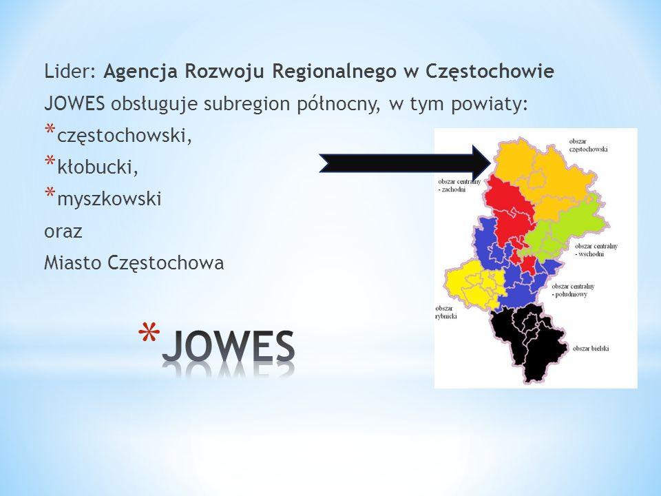 Lider: Agencja Rozwoju Regionalnego w Częstochowie JOWES obsługuje subregion północny, w tym powiaty: * częstochowski, * kłobucki, * myszkowski oraz Miasto Częstochowa