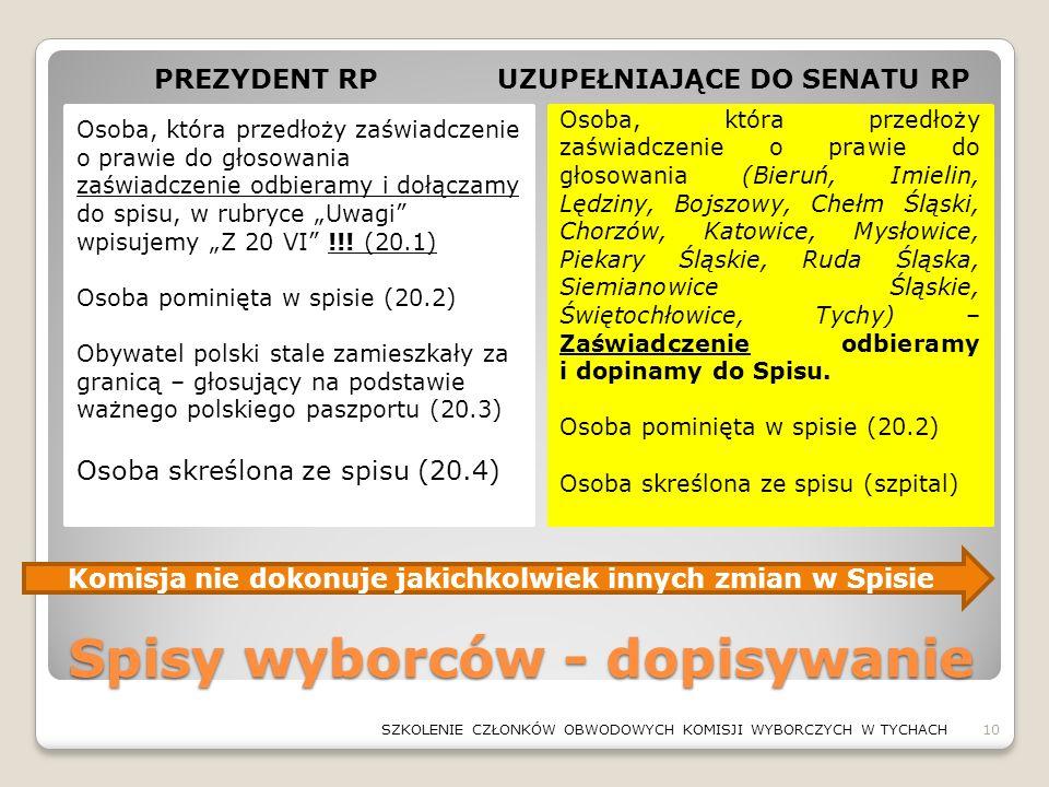 Spisy wyborców - dopisywanie Osoba, która przedłoży zaświadczenie o prawie do głosowania (Bieruń, Imielin, Lędziny, Bojszowy, Chełm Śląski, Chorzów, K