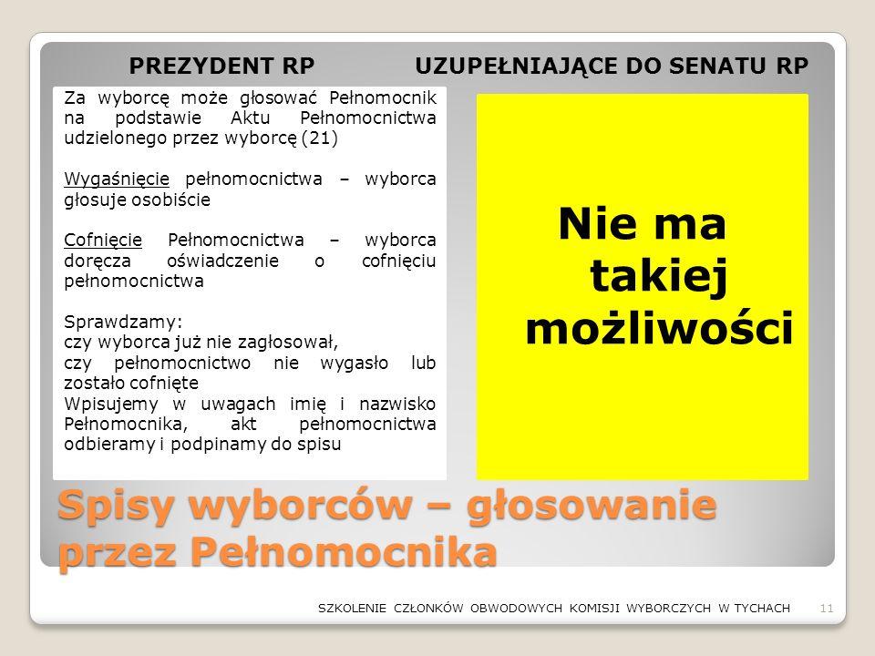 Spisy wyborców – głosowanie przez Pełnomocnika Nie ma takiej możliwości Za wyborcę może głosować Pełnomocnik na podstawie Aktu Pełnomocnictwa udzielon
