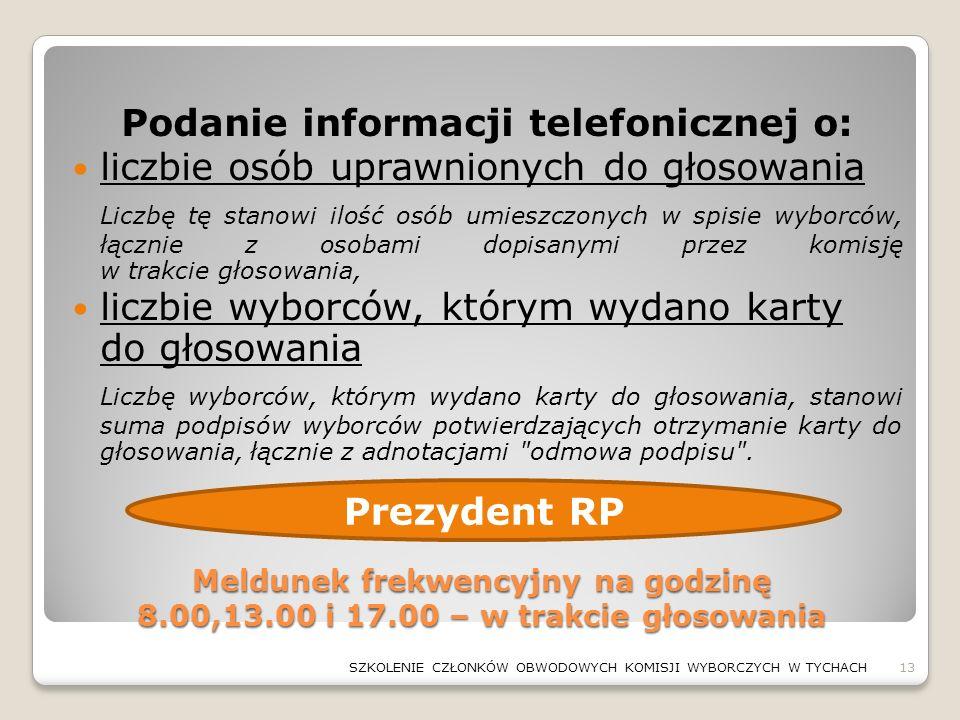 Meldunek frekwencyjny na godzinę 8.00,13.00 i 17.00 – w trakcie głosowania Podanie informacji telefonicznej o: liczbie osób uprawnionych do głosowania