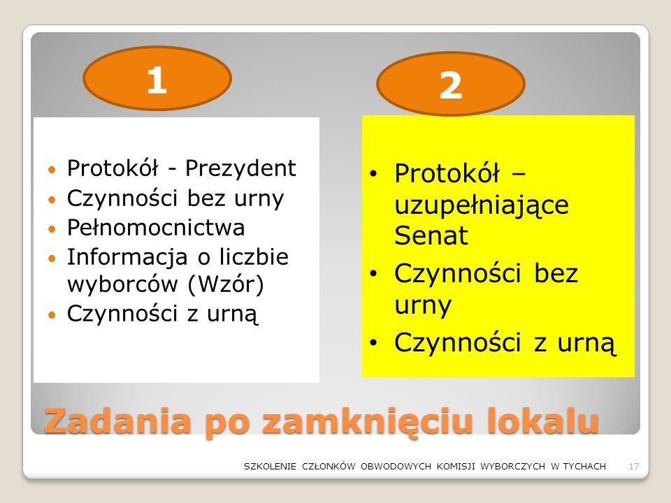 Zadania po zamknięciu lokalu Protokół - Prezydent Czynności bez urny Pełnomocnictwa Informacja o liczbie wyborców (Wzór) Czynności z urną Protokół – u