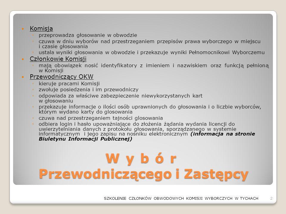 Wybór Przewodniczącego i Zastępcy Komisja ◦przeprowadza głosowanie w obwodzie ◦czuwa w dniu wyborów nad przestrzeganiem przepisów prawa wyborczego w m