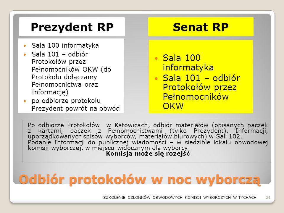 Odbiór protokołów w noc wyborczą Sala 100 informatyka Sala 101 – odbiór Protokołów przez Pełnomocników OKW (do Protokołu dołączamy Pełnomocnictwa oraz