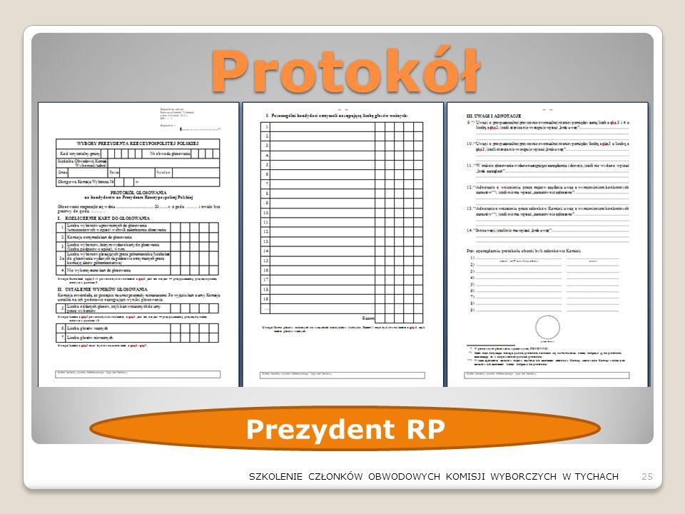 Protokół 25SZKOLENIE CZŁONKÓW OBWODOWYCH KOMISJI WYBORCZYCH W TYCHACH Prezydent RP