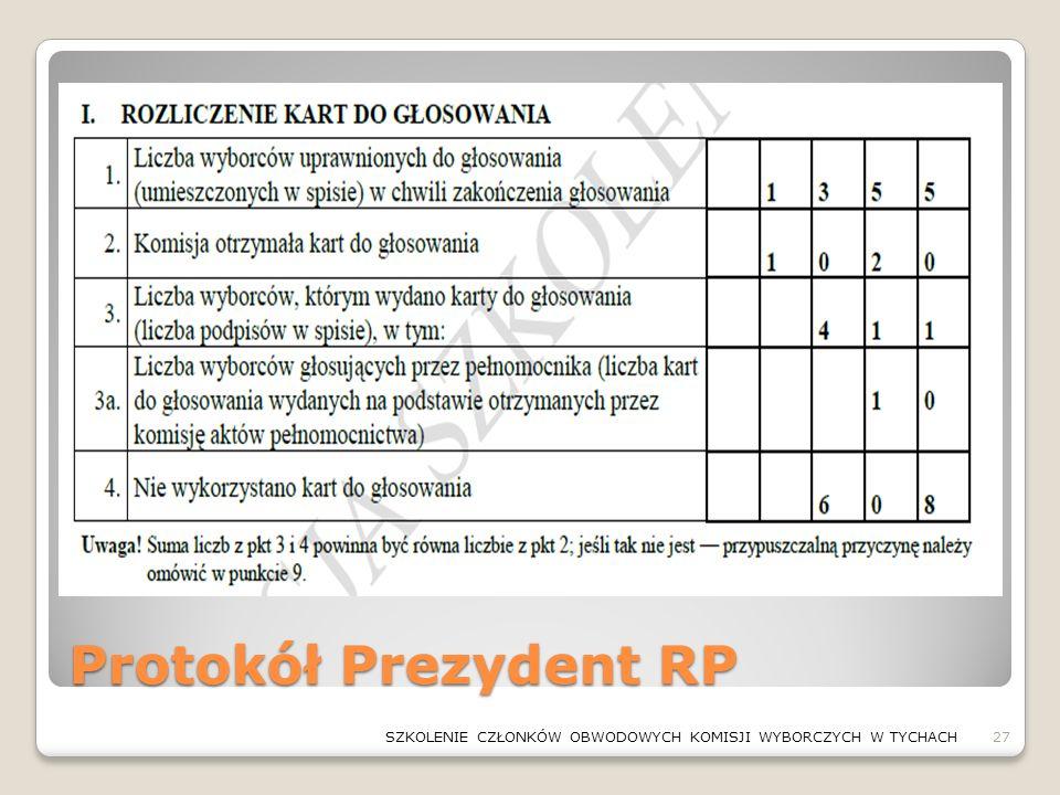 Protokół Prezydent RP 27SZKOLENIE CZŁONKÓW OBWODOWYCH KOMISJI WYBORCZYCH W TYCHACH