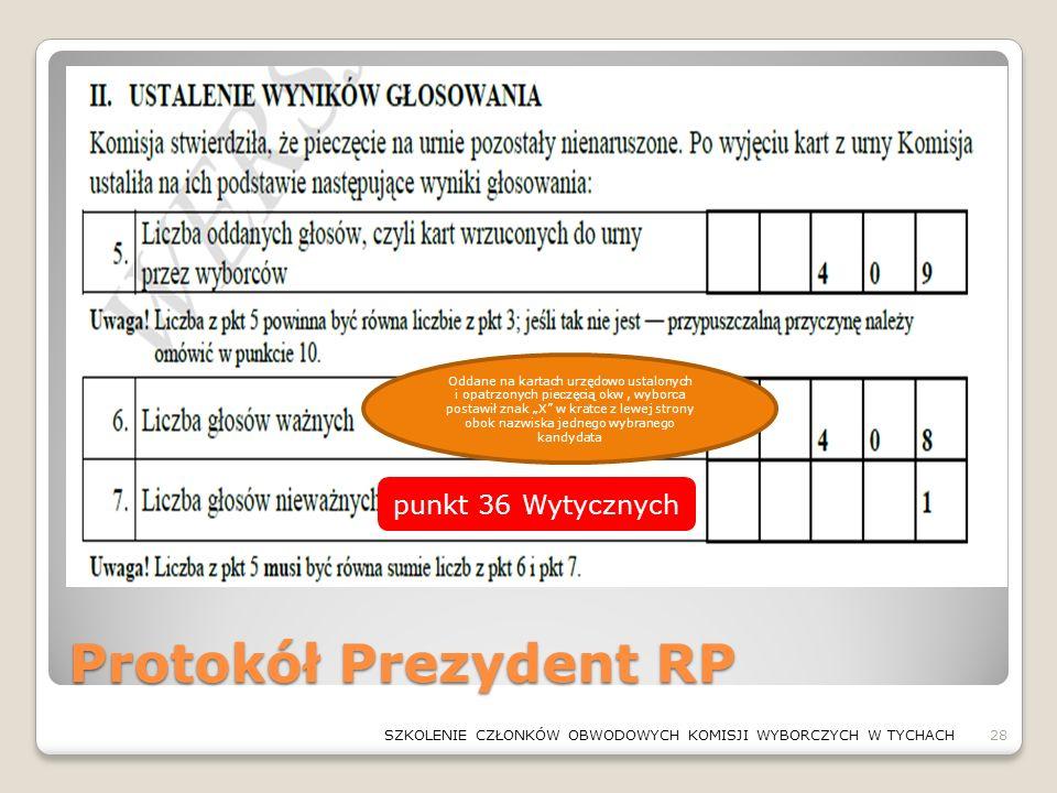 Protokół Prezydent RP 28SZKOLENIE CZŁONKÓW OBWODOWYCH KOMISJI WYBORCZYCH W TYCHACH Oddane na kartach urzędowo ustalonych i opatrzonych pieczęcią okw,