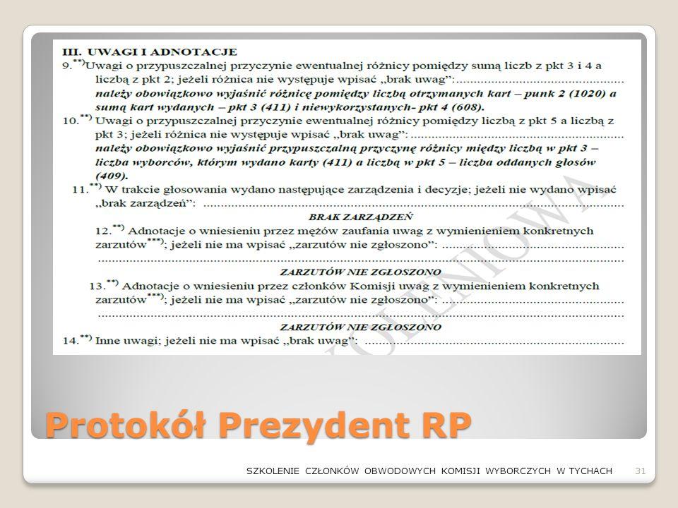 Protokół Prezydent RP 31SZKOLENIE CZŁONKÓW OBWODOWYCH KOMISJI WYBORCZYCH W TYCHACH