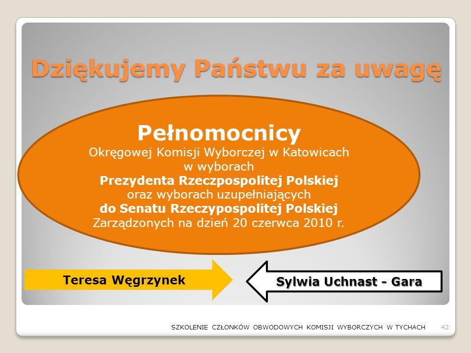 Dziękujemy Państwu za uwagę 42SZKOLENIE CZŁONKÓW OBWODOWYCH KOMISJI WYBORCZYCH W TYCHACH Pełnomocnicy Okręgowej Komisji Wyborczej w Katowicach w wybor