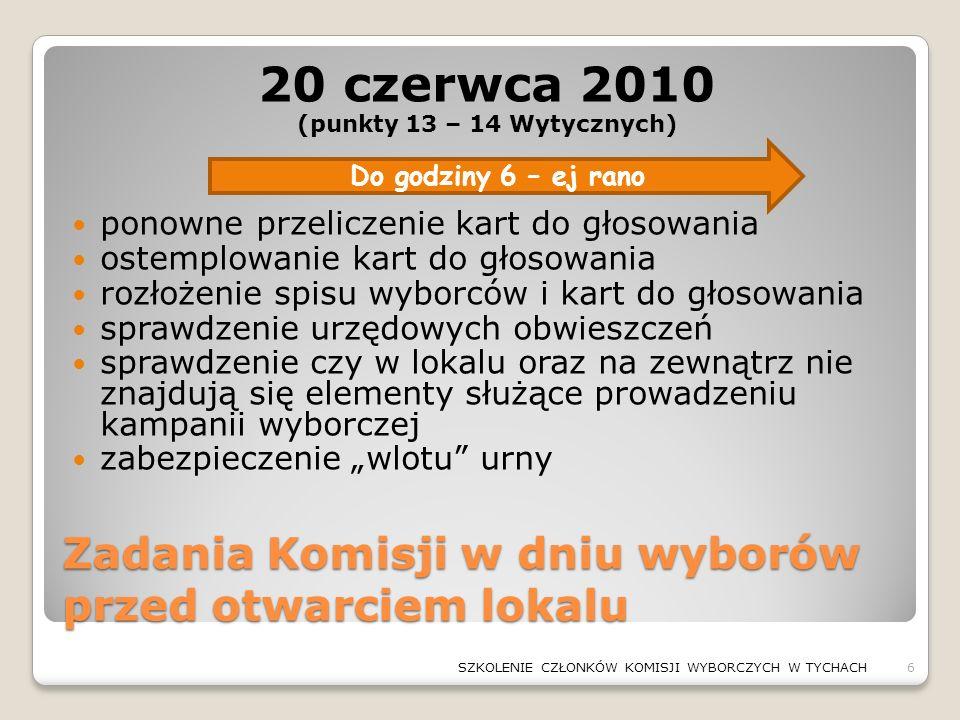Zadania Komisji w dniu wyborów przed otwarciem lokalu 20 czerwca 2010 (punkty 13 – 14 Wytycznych) ponowne przeliczenie kart do głosowania ostemplowani