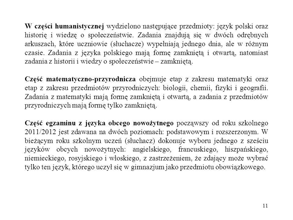 W części humanistycznej wydzielono następujące przedmioty: język polski oraz historię i wiedzę o społeczeństwie.