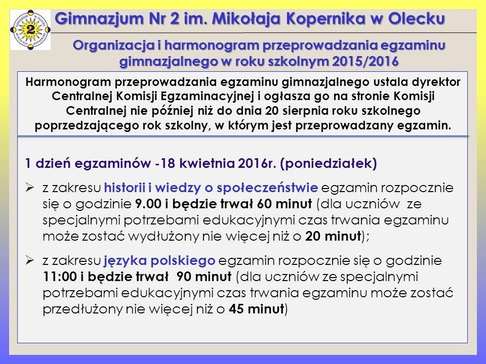 Gimnazjum Nr 2 im.Mikołaja Kopernika w Olecku 2 dzień egzaminów – 19 kwietnia 2016r.
