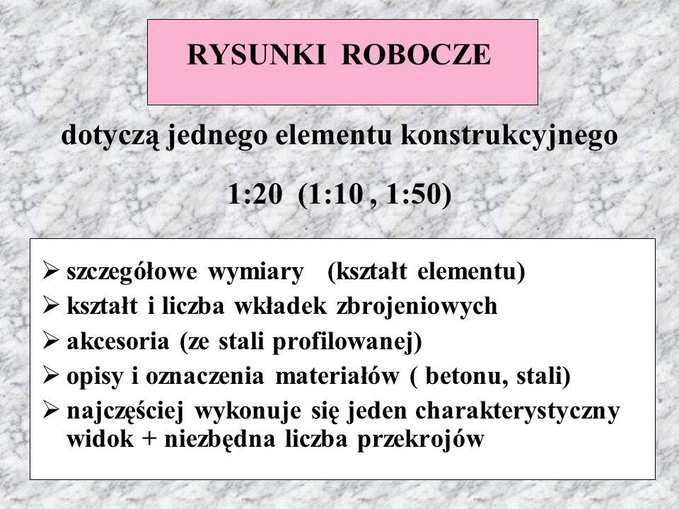 RYSUNKI ROBOCZE dotyczą jednego elementu konstrukcyjnego 1:20 (1:10, 1:50)  szczegółowe wymiary (kształt elementu)  kształt i liczba wkładek zbrojen