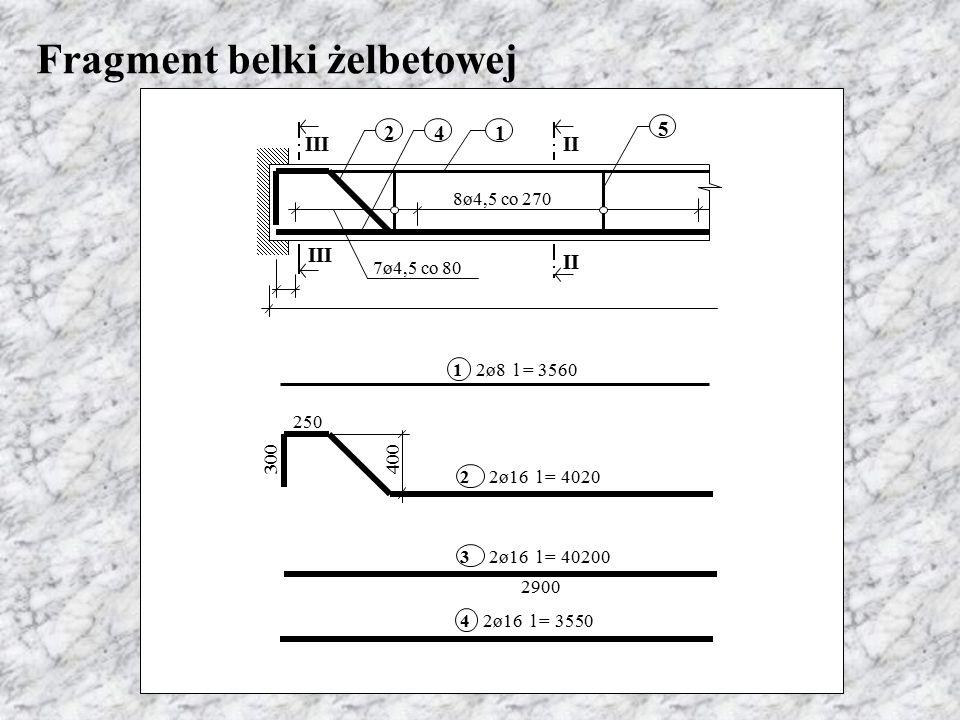 Fragment belki żelbetowej 4 5 12 III II 8ø4,5 co 270 7ø4,5 co 80 250 300 2900 400 22ø16 l = 4020 32ø16 l = 40200 12ø8 l = 3560 42ø16 l = 3550