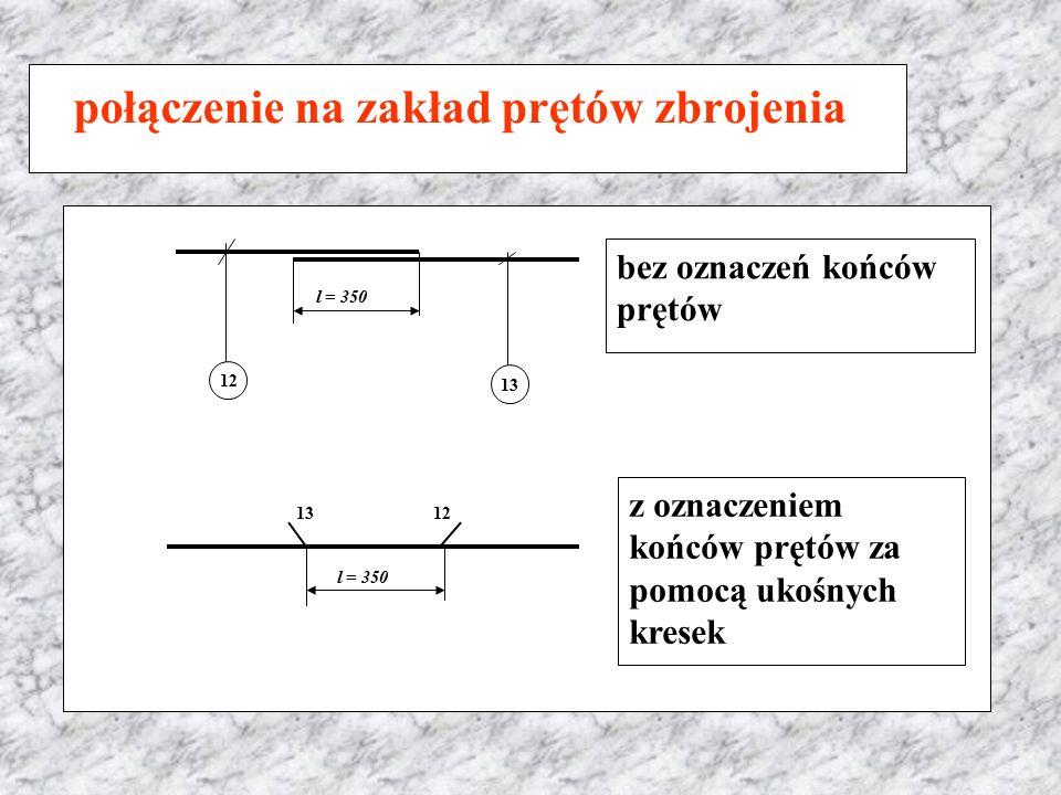 połączenie na zakład prętów zbrojenia l = 350 12 13 bez oznaczeń końców prętów l = 350 13 12 z oznaczeniem końców prętów za pomocą ukośnych kresek