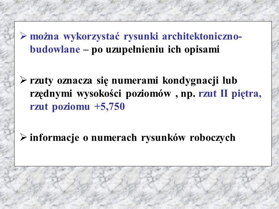  można wykorzystać rysunki architektoniczno- budowlane – po uzupełnieniu ich opisami  rzuty oznacza się numerami kondygnacji lub rzędnymi wysokości