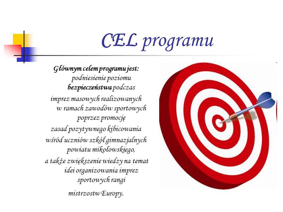 CEL programu Głównym celem programu jest: podniesienie poziomu bezpieczeństwa podczas imprez masowych realizowanych w ramach zawodów sportowych poprzez promocję zasad pozytywnego kibicowania wśród uczniów szkół gimnazjalnych powiatu mikołowskiego, a także zwiększenie wiedzy na temat idei organizowania imprez sportowych rangi mistrzostw Europy.
