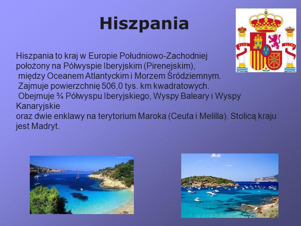 Hiszpania to kraj w Europie Południowo-Zachodniej położony na Półwyspie Iberyjskim (Pirenejskim), między Oceanem Atlantyckim i Morzem Śródziemnym. Zaj