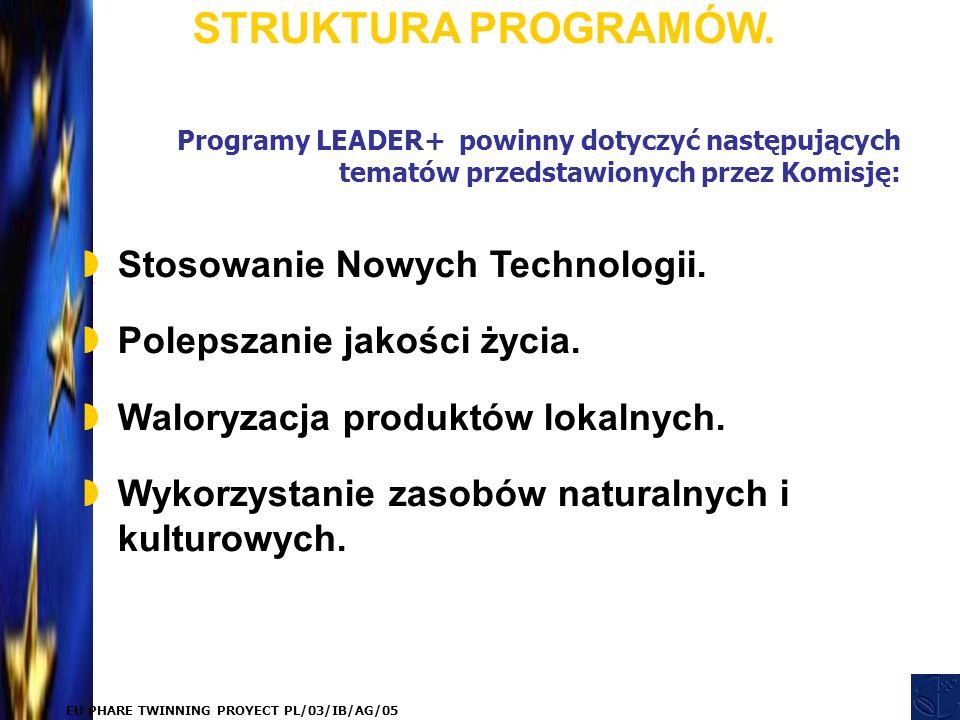 EU PHARE TWINNING PROYECT PL/03/IB/AG/05 Programy LEADER+ powinny dotyczyć następujących tematów przedstawionych przez Komisję: STRUKTURA PROGRAMÓW.