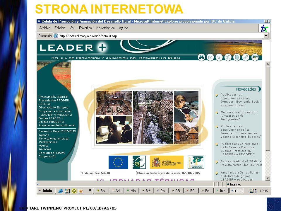 EU PHARE TWINNING PROYECT PL/03/IB/AG/05 STRONA INTERNETOWA