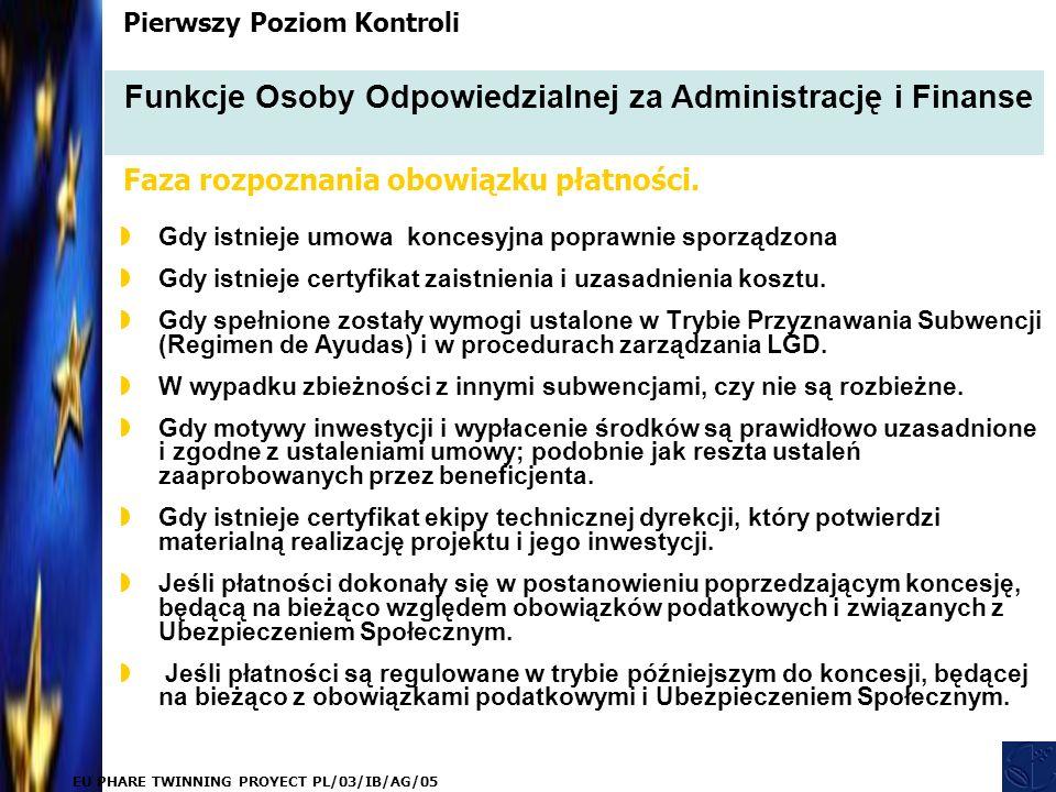 EU PHARE TWINNING PROYECT PL/03/IB/AG/05  Gdy istnieje umowa koncesyjna poprawnie sporządzona  Gdy istnieje certyfikat zaistnienia i uzasadnienia kosztu.