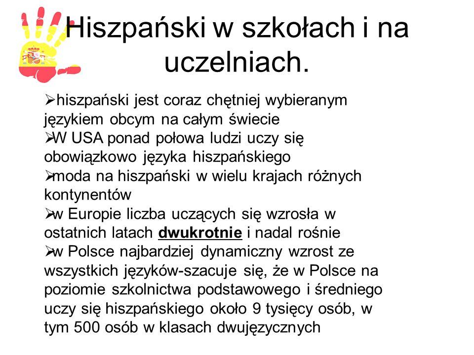 Hiszpański w szkołach i na uczelniach.