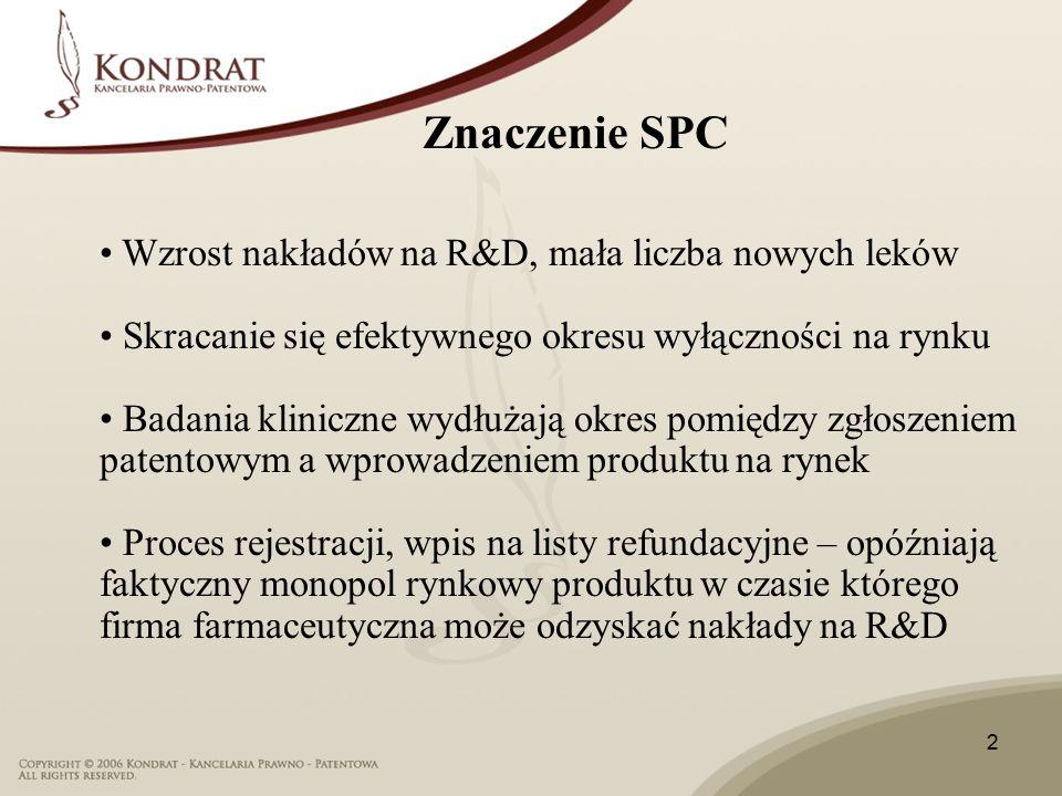 2 Wzrost nakładów na R&D, mała liczba nowych leków Skracanie się efektywnego okresu wyłączności na rynku Badania kliniczne wydłużają okres pomiędzy zgłoszeniem patentowym a wprowadzeniem produktu na rynek Proces rejestracji, wpis na listy refundacyjne – opóźniają faktyczny monopol rynkowy produktu w czasie którego firma farmaceutyczna może odzyskać nakłady na R&D Znaczenie SPC