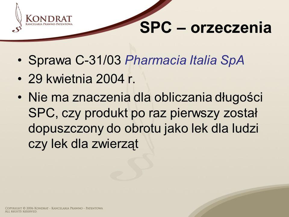 SPC – orzeczenia Sprawa C-31/03 Pharmacia Italia SpA 29 kwietnia 2004 r.