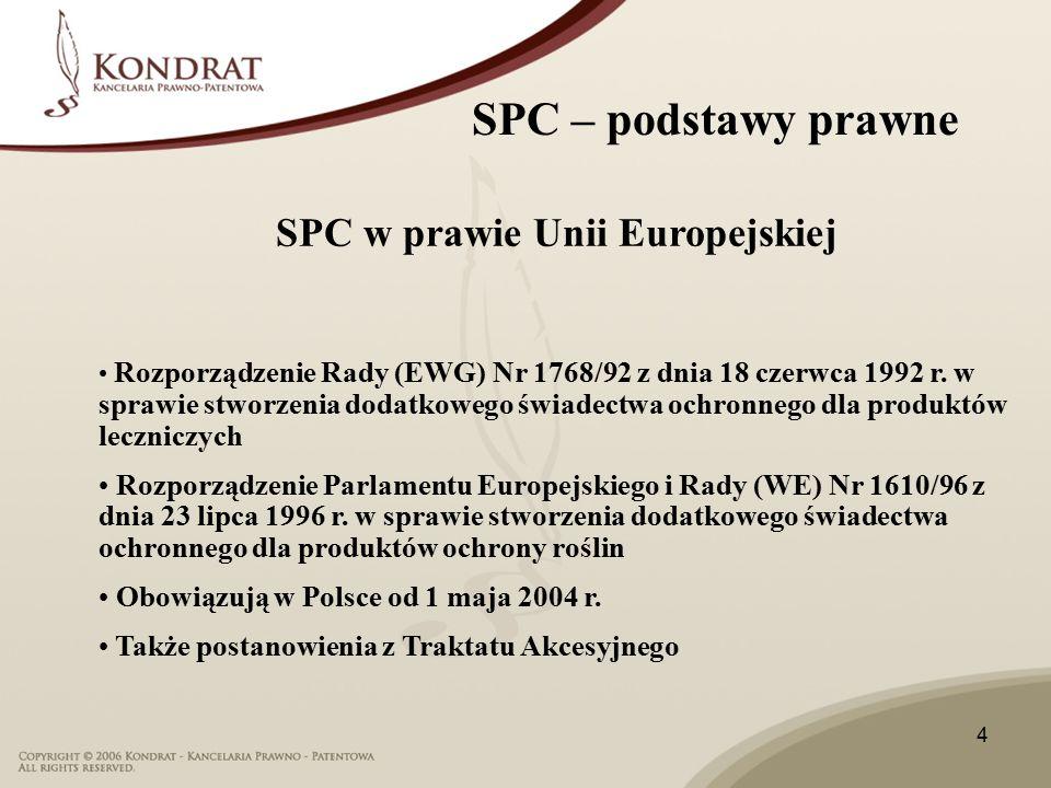 15 SPC – orzeczenia SPC przyznaje prawa wyłączne podobnie jak patent Zakresem obejmuje sole i estry, w zakresie patentu podstawowego Zakres patentu jest ustalony w oparciu o prawo krajowe
