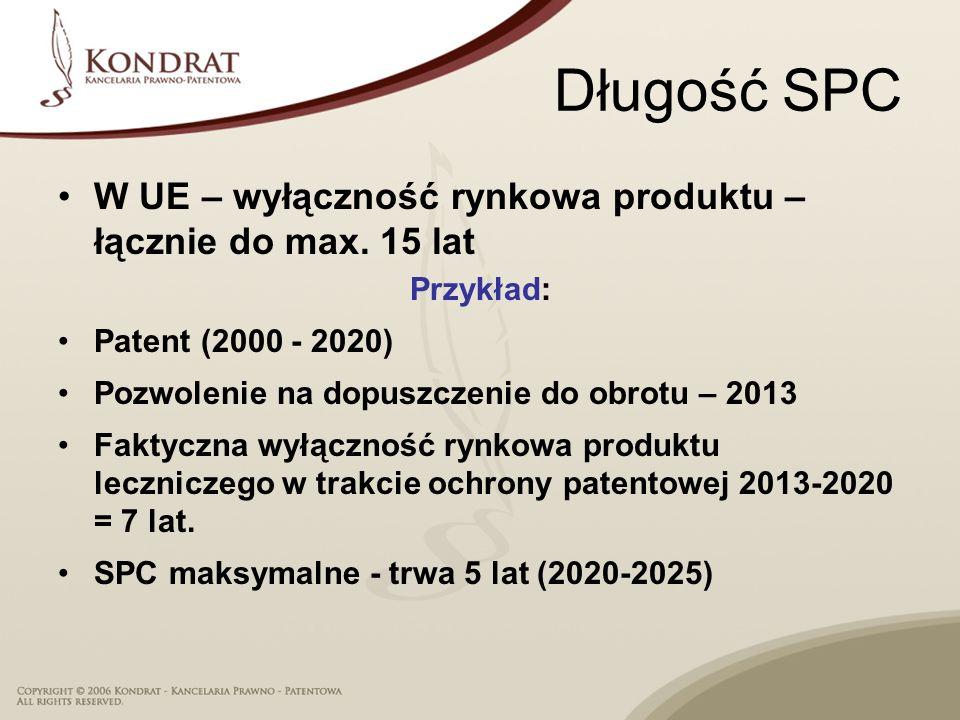 9 Warunkiem udzielenia SPC przez Urząd Patentowy jest patent podstawowy w mocy oraz złożenie wniosku w ciągu 6 miesięcy od wydania krajowego pozwolenia na dopuszczenie do obrotu w UE (US - 60 dni) Patent podstawowy: na produkt, proces otrzymywania lub zastosowanie produktu SPC jest na produkt: składnik czynny lub mieszaninę składników czynnych w produkcie leczniczym SPC – wybrane aspekty