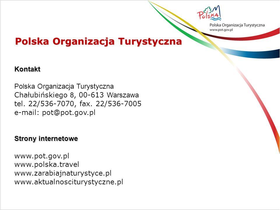 Kontakt Polska Organizacja Turystyczna Chałubińskiego 8, 00-613 Warszawa tel. 22/536-7070, fax. 22/536-7005 e-mail: pot@pot.gov.pl Strony internetowe