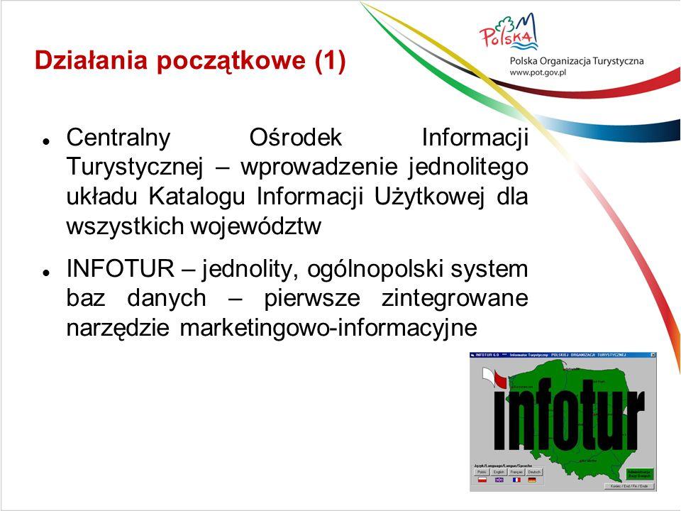 Działania początkowe (1) Centralny Ośrodek Informacji Turystycznej – wprowadzenie jednolitego układu Katalogu Informacji Użytkowej dla wszystkich województw INFOTUR – jednolity, ogólnopolski system baz danych – pierwsze zintegrowane narzędzie marketingowo-informacyjne