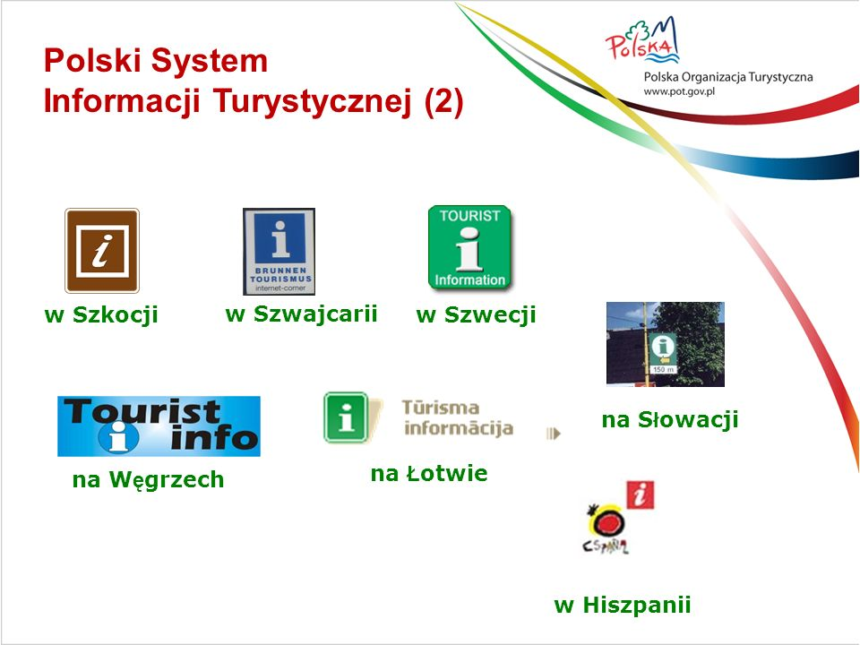 w Szkocjiw Szwecji na S ł owacji na W ę grzech na Ł otwie w Hiszpanii w Szwajcarii Polski System Informacji Turystycznej (2)