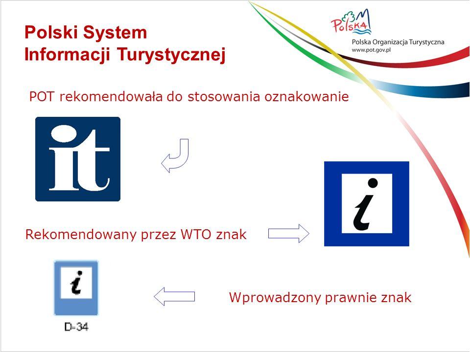 POT rekomendowa ł a do stosowania oznakowanie Rekomendowany przez WTO znak Polski System Informacji Turystycznej Wprowadzony prawnie znak