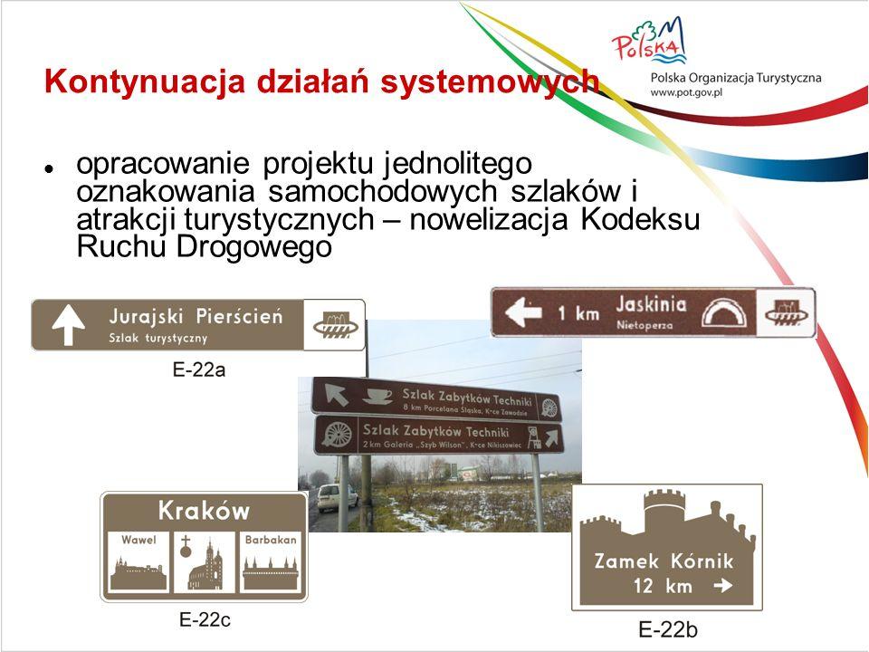 Kontynuacja działań systemowych opracowanie projektu jednolitego oznakowania samochodowych szlaków i atrakcji turystycznych – nowelizacja Kodeksu Ruchu Drogowego